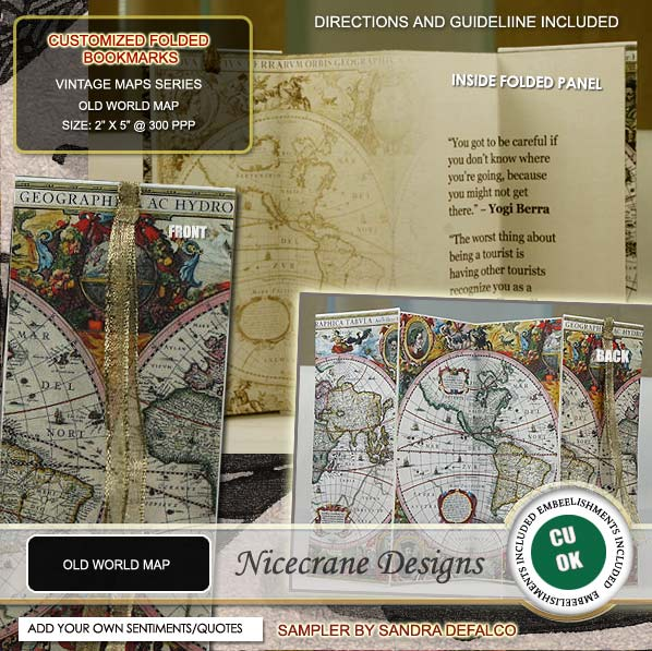 Nicecrane designs old world map folded bookmark get your elegant and gorgeus old world map bookmark here gumiabroncs Image collections