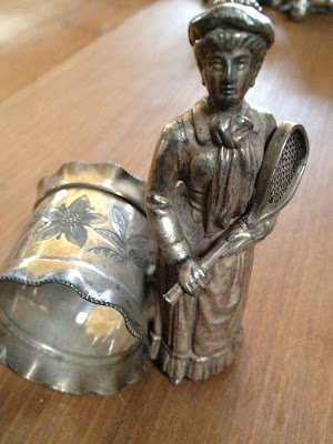 Rare Female Tennis Player Figural Napkin Ring