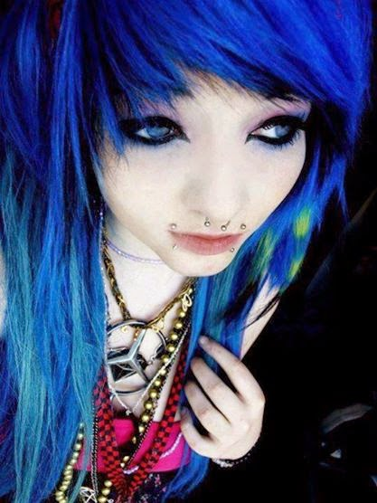Sexy Emo Girls Colorful Hairstyle