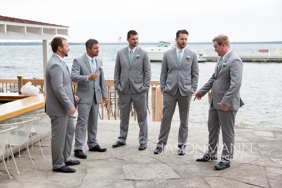 Door County Wedding: Groomsmen in gray and teal. Photo by Jason Mann Photography, 920-246-8106, www.jmannphoto.com