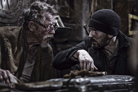 John Hurt and Chris Evans in Snowpiercer