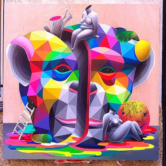 Arte urbano colorido y geométrico de Okuda