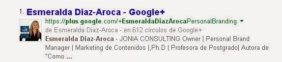 Indexación del perfil de Google PLUS. SERP Esmeralda Diaz-Aroca