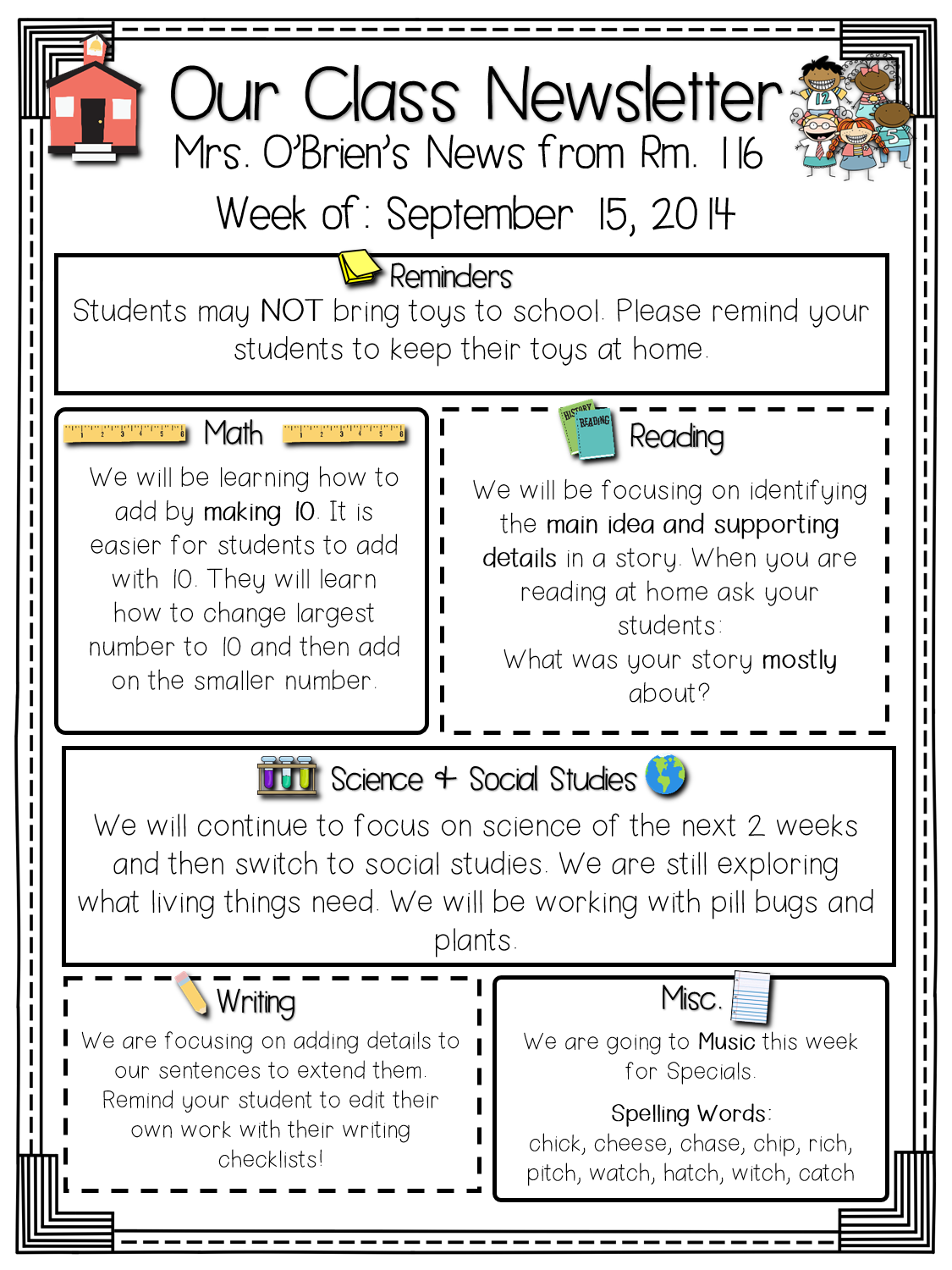 Primary chalkboard class newsletters freebie included for Class newsletter ideas