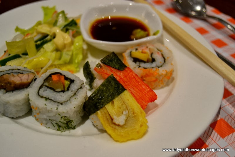 Salad and Sushi at Intramuros Restaurant Dubai