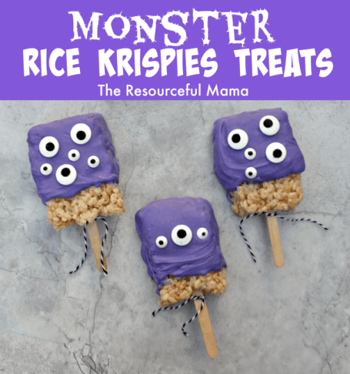 http://www.theresourcefulmama.com/monster-rice-krispies-treats/