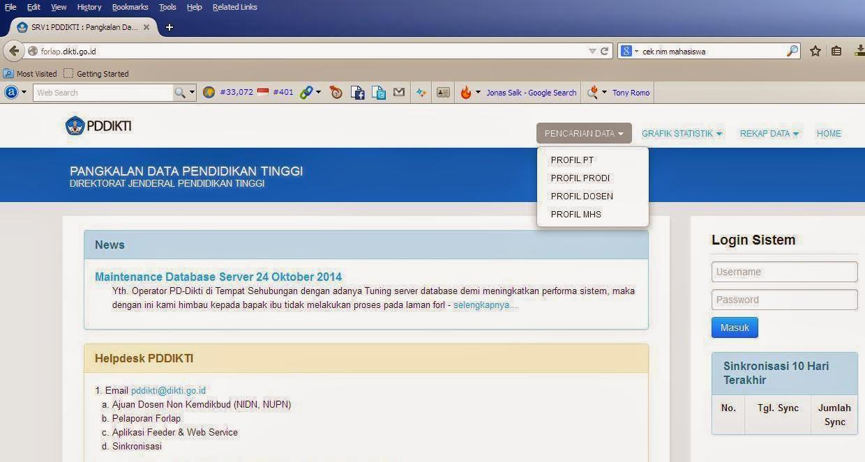 Cara cek NIM secara online di Dikti