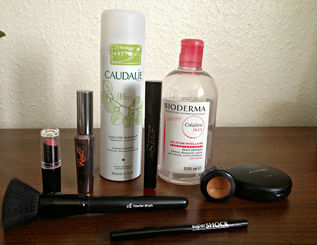 Bioderma crealine, caudalie grape water, MAC, Elf powder brush, avon super shock, wet n wild,
