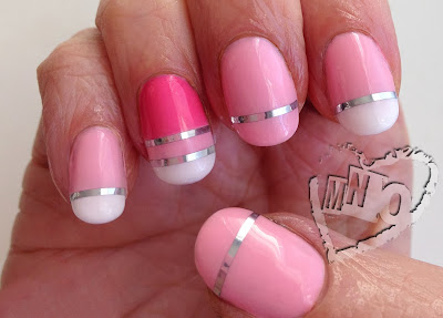 Gel Nail Art Designs Easy Stripes pink Metallic