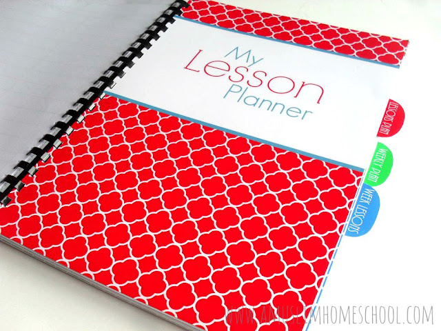 Lesson planner divider for the Home School Planner