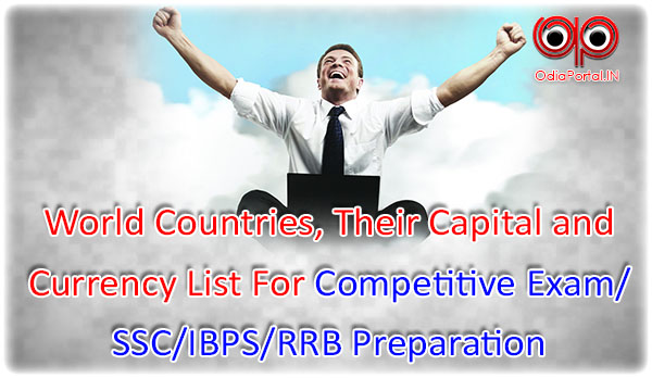 World Countries Their Capital And Currency List For Competitive - List of world countries and capitals