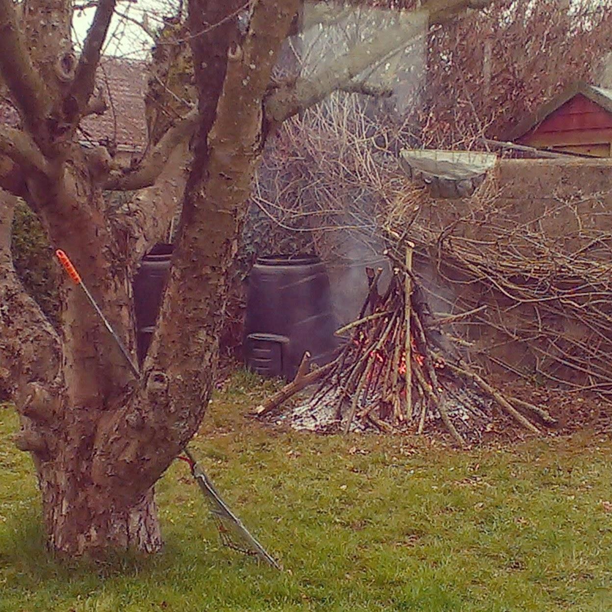 Tipi bonfire in the garden