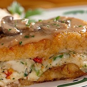Chicken stuffed with cheese covered with marsala sauce