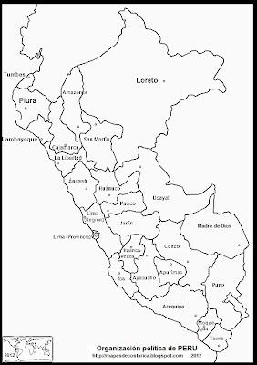 Mapa de la organización política de PERU con los nombre de los departamentos, blanco y negro
