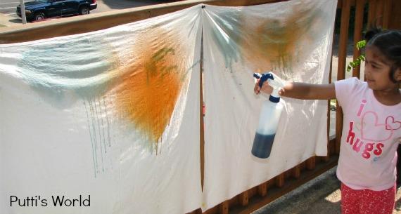kids Spray Painting on Fabric