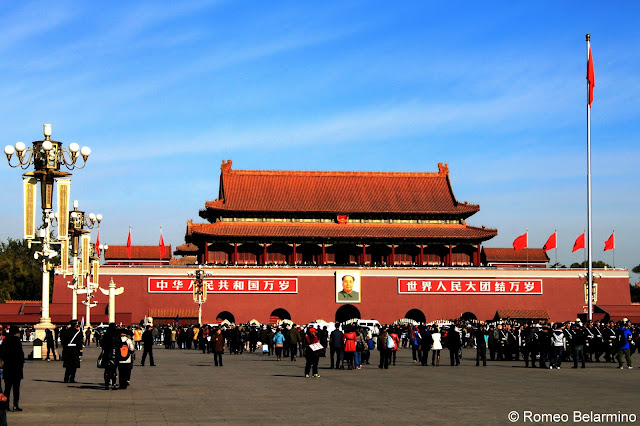 View of Forbidden City and Gate of Heavenly Peace from Tiananmen Square Beijing China