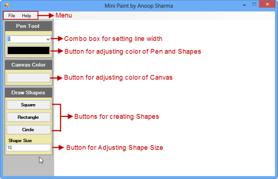 Mini Paint Application Using C It Tutorials With Example