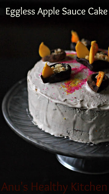 eggless apple sauce layer cake with edible diya - diwali