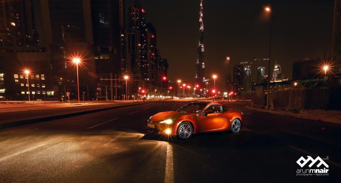 Toyota GT86, sportowy samochód, nocne fotki