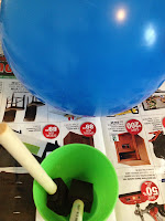 blue and green, craft, preparation, balloon, papier mache
