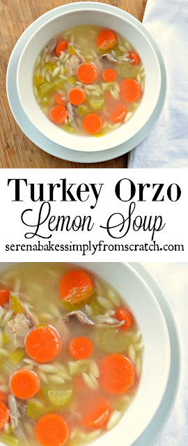Turkey Orzo Lemon Soup is light and filling! A great use for leftover Turkey from the holidays! serenabakessimplyfromscratch.com