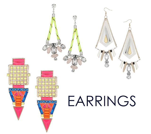 topshop, jewelry, spring, neon, color, rhinestones, earrings, spikes, triangles, geometric, cuff