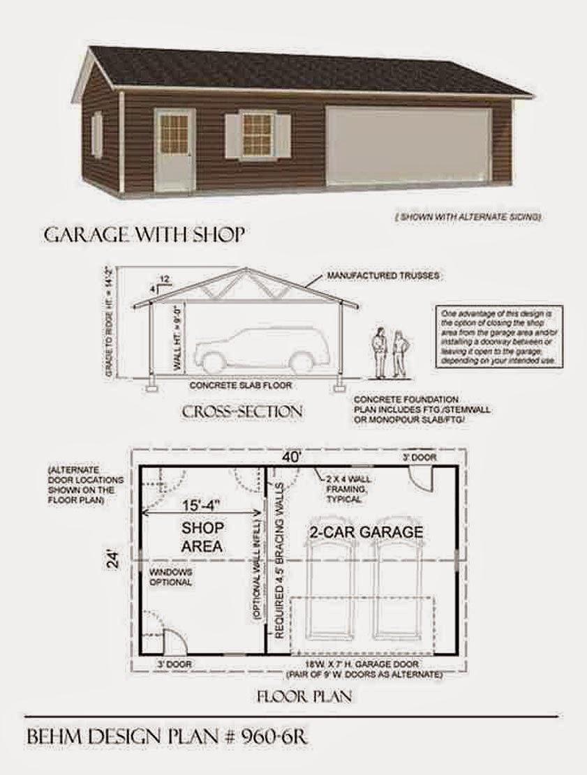 Garage plans blog behm design garage plan examples for Garage plans with shop space