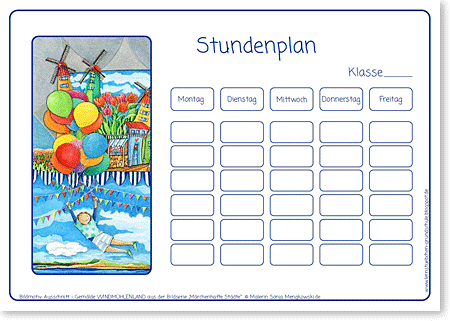 Stundenplan - Windmühlenland - Format DIN A4 - Grundschule