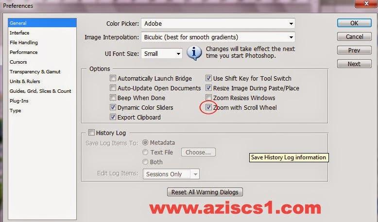 Mengaktifkan Fitur Zoom dengan Scroll Mouse Pada Photoshop