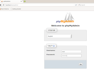 halaman login phpMyAdmin