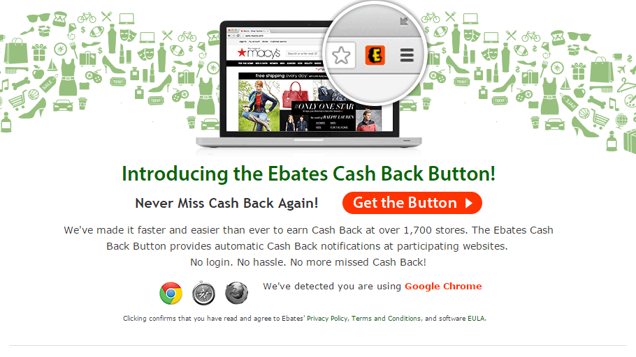 Ebates button, Ebates, Online Shopping