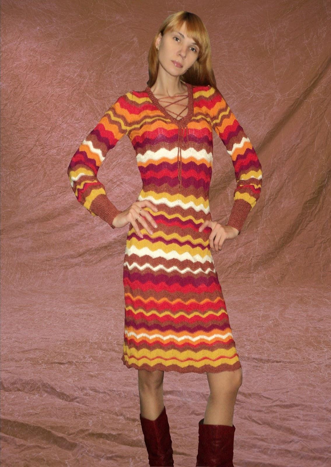 платья от миссони со схемами спицами
