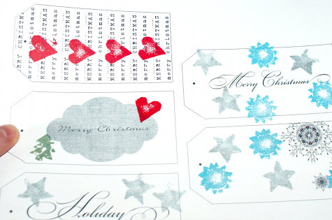 DIY Handmade Printable Christmas Gift Tags and DIY Handmade Upcycled Wine Cork Stamps Craft Projects