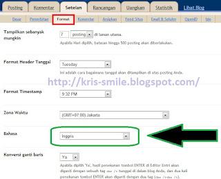 Adsense tab format - pilih bahasa inggris