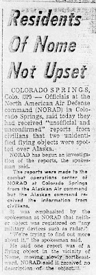 NORAD PROBES FLYING OBJECT - Anchorage Daily News (Part 2) 2-16-1960