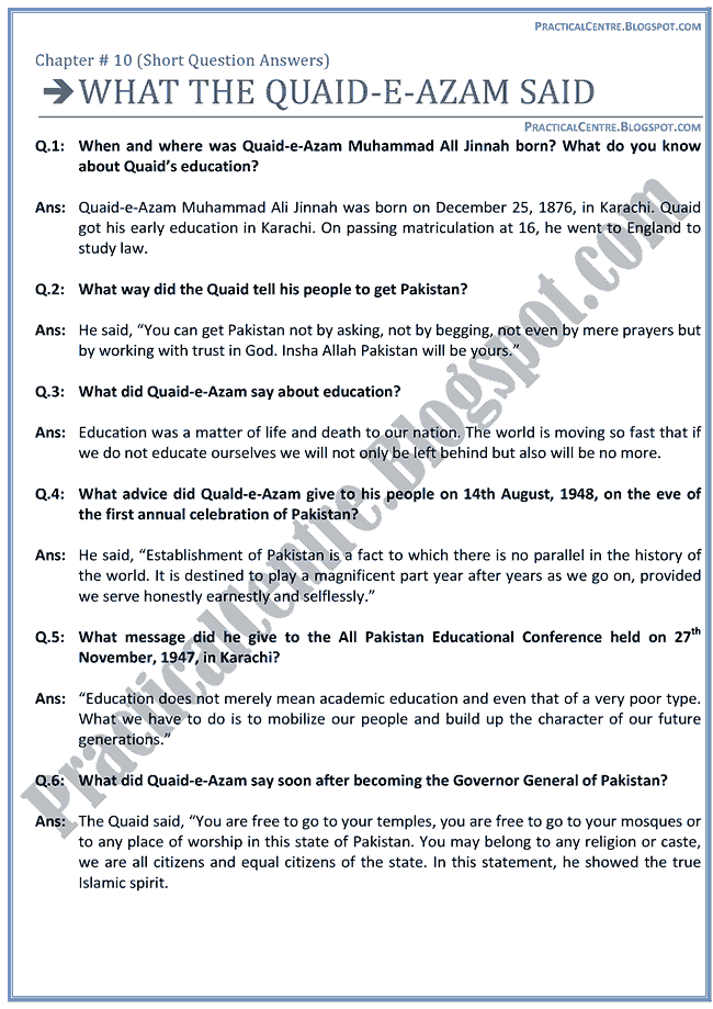 what-the-quaid-e-azam-said-questions-answers-english-ix