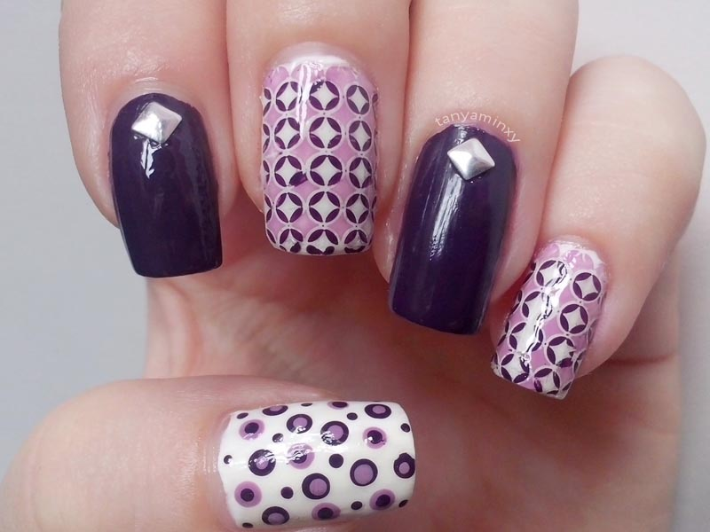 Purple Lavender Geometric Soft Stamping Nails KkCenterHk Circles Dots Rhombuses Nail Art Nail Design