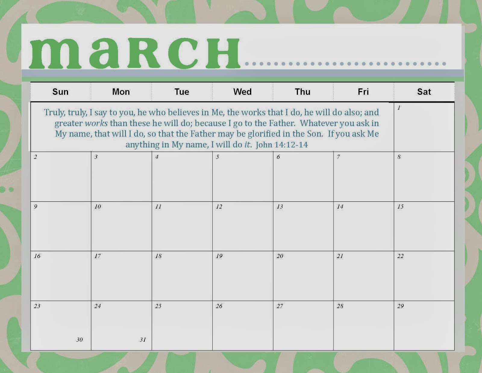 Calendar March 2014 : The ging pastors wife printable march calendar