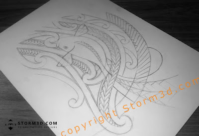 Maori koifish design pencil drawing