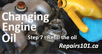 pouring oil into an engine's crankcase