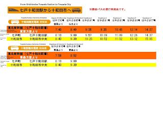 Shichinohe-Towada Station to Towada Bus Schedule 七戸十和田駅から十和田市へのバス時刻表
