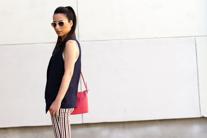 Trend Alert Navy Waistcoat, Striped Pants and Wooden Platform Sandals