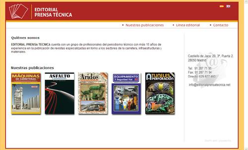 página web de Editorial Prensa Técnica, revistas especializadas de los sectores de la carretera, infraestructuras y materiales