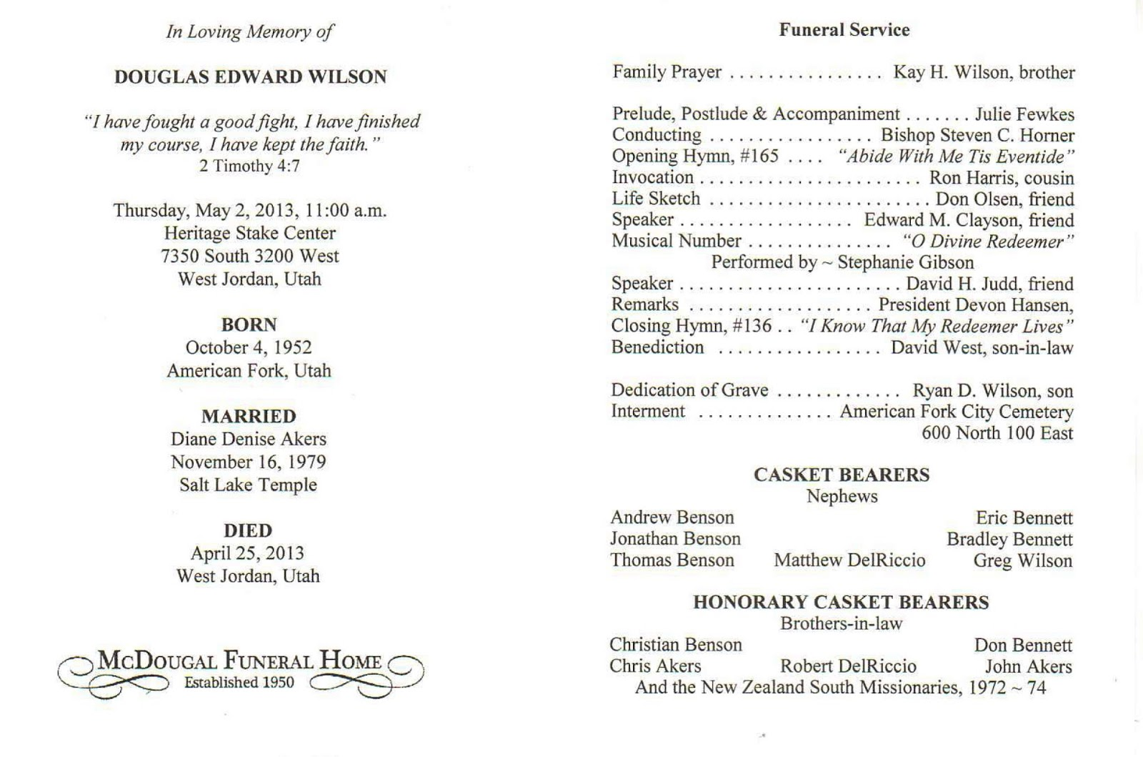 DOUG WILSON'S LATEST: Funeral Recording and Program: thelatestondoug.blogspot.com/2013/05/funeral-recording-and-program...