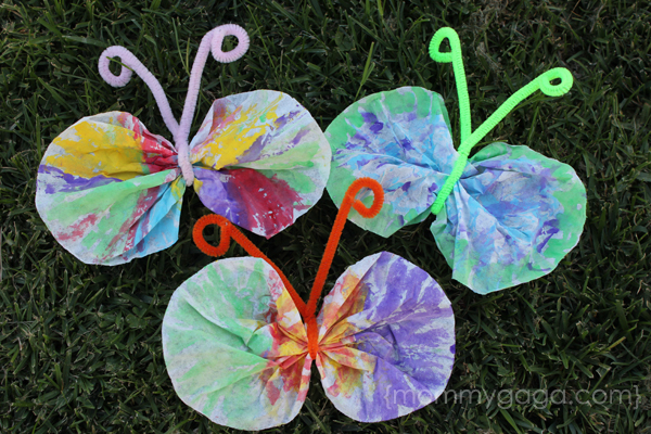 Spring crafts for kids coffee filter butterfly craft for Butterfly art and craft