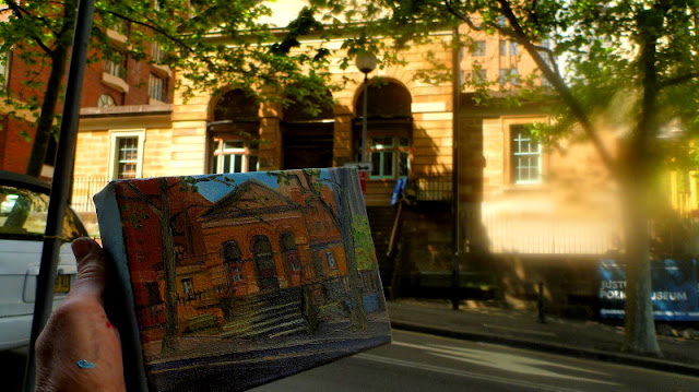 Plein air oil painting of the Justice and Police Museum, Sydney Living Museums by heritage artist Jane Bennett