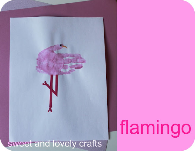 Baby made handprint flamingos amp ostriches crafts ideas crafts for