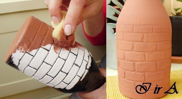 Заметки: Имитация кирпичной кладки на бутылках