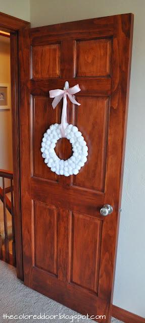 winter pom pom wreath - the colored door
