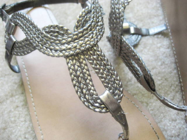 flat metallic sandals